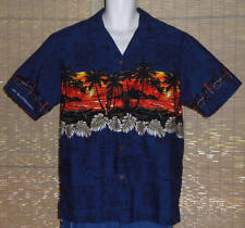 Hawaiian Reserve Collection Hawaiian Shirt Blue Orange Islands Tiki Size XL