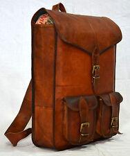 Men's Genuine Real leather backpack rucksack briefcase vintage natural Cross bag