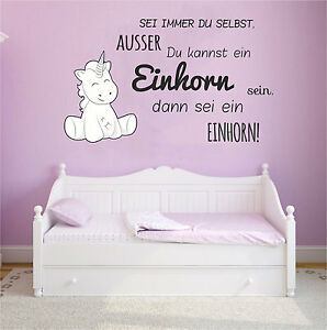 WANDTATTOO Kinderzimmer Wandaufkleber Unicorn Einhorn cutie Sei immer du selbst