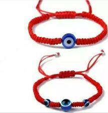 2x Rotes Armband mit Nazar Boncuk Blaue Auge Perlenoptik  Rot
