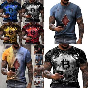 Men's Short Sleeve T-shirt Crewneck Slim Fit Poker Blouse Bitcoin Dye Print Tops
