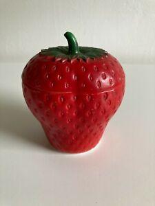 Vintage Hazel Atlas Strawberry Milk Glass Jam or Jelly Jar with Lid