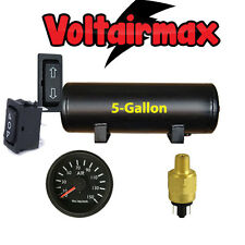 5 Gallon Air Tank 5Port Air Ride Suspension Compressor System Gauge Press Switch