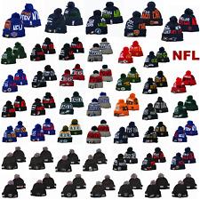 NEW Embroidered NFL Teams Logo Cuffed Beanie Cap Winter Warm Ski Sports Pom Hat