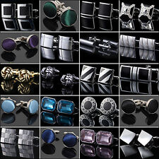 NT Business Men Cufflinks Stainless Steel High Quality Cuff Links Metal Crystal