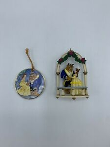 Set Of 2 Disney Beauty And The Beast Porcelain & Plastic Christmas Ornament