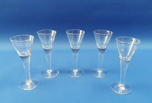 5 x Small Vintage Crystal Glass Fluted Liquer Glasses - 102mm Tall