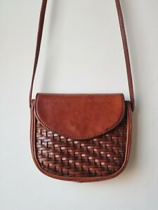 Vintage Chestnut Brown Leather Woven Small Crossbody Bag