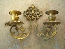 Antique Art Nouveau Brass Double /Gold Gilt Wall Candle Sconces