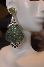 Beautiful hand carved green onyx earrings with .925 Sterling Silver post