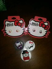 3 Hello Kitty Pinback Pin Buttons & 2 pairs of earrings