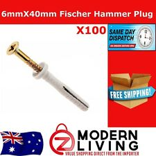 100 x Fischer Hammer In Wall Plug Nylon Masonry Screw Pozi Head 6mmx40mm Anchor