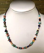 "Santo Domingo Turquoise Lapis Multi Stone Sterling Necklace 18"" - Helen Tsosie"