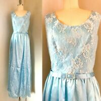 Vintage 70s Blue Lace Maxi Dress Size M/L Empire gown Belted Holiday Party boho
