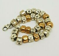 Sterling Silver 925 Gold Plated Hammered Beaded Bracelet Signed by artist