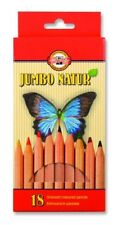 KOH-I-NOOR JUMBO NATUR COLOURED PENCILS - Pack of 18 Assorted Colour Pencils