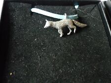 """Fox codea23 Made From Fine English Pewter On a 18"""" Blue Cord Necklace"""