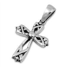 Weave Celtic Knot Cross Pendant .925 Sterling Silver Braid Shiny Charm