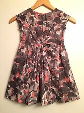 CREW CUTS Girls Gray & Coral Floral Print Pleated Dress Girls Size 4/5