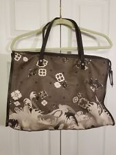 fbff9ee615 Kenzo Handbag Tote Floral Canvas With Brown Leather Straps