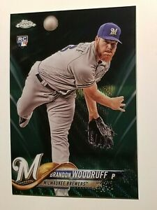 2018 Topps Chrome Brandon Woodruff green wave refractor /99 rookie RC Brewers