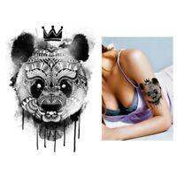 Temporäres Tattoo Panda mit Krone Design Klebetattoo Körperkunt