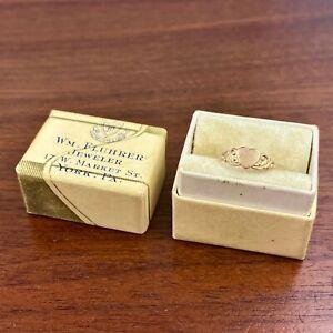 ANTIQUE BABY 10K YELLOW GOLD HEART SHAPED SIGNET RING NO MONO ORIG. BOX