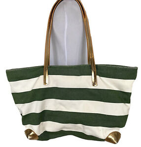 Banana Republic Striped Tote Canvas with Leather Trim Green White Gold Bag