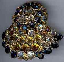 VINTAGE UNSIGNED EARLY HOBE TOPAZ & BLUE FACETED GLASS RHINESTONE DRESS CLIP