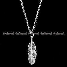 Women Men New Design Feather Retro Silver Pendant Chain Necklace Jewellery Gift
