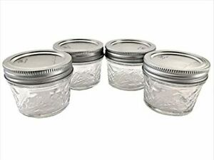 Mason Ball Jelly Jars-4 oz. each - Quilted Crystal Style-Set of 4 New Free Ship