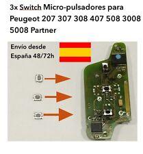 3x SWITCH MICRO-PULSADOR PEUGEOT 207 307 308 407 508 3008 5008 PARTNER. PLEGABLE