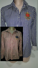 LOT 2 RALPH LAUREN Long Sleeve Stripe Button Front Shirts Sz 10 Medium Red Blue