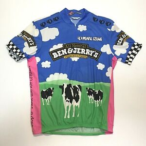 Vtg 2001 Pearl Izumi Mens Ben & Jerry's Cycling Jersey Trikot SS ITALY MADE sz M