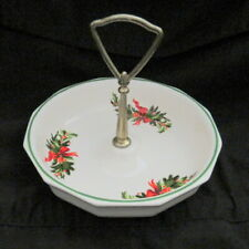 Vintage Christmas Serving Dish Candy Dish Holly And Red Ribbons Hostess Server