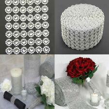 Flower Crystal Shape Mesh Wrap Crystal Rhinestone Bling Ribbons Wedding Decor