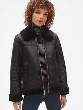 Gap $198.00 Faux-Fur Trim Moto Jacket, Sz XS True Black