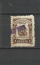 1905-SELLO FISCAL CARTAGENA MURCIA IMPUESTO 1928 1 PTA