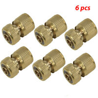 6pcs Brass Hose Pipe Fitting Garden Tap Hosepipe Quick Connectors & spray nozzle