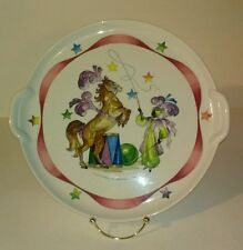"Villeroy & Boch Le Cirque cake plate white/red/blue horse/trainer 12.63"" marks"