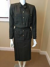 Vintage Chanel Two Piece Peplum Silk Dress Stripes Green Size 34