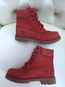 AUTHENTIC TIMBERLAND LADIES RED SUEDE LEATHER BIKER COMBAT BOOTS SIZE 4 EUR 37