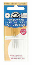 Taille 24 dmc gold eye cross stitch needles pack de 4 uk gratuit frais de port et emballage