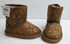 New Girls Cognac Brown Toddler Cozy Star Boots Size 3
