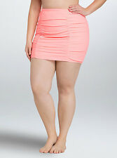 Torrid Ruched High Waist Coral Peach Skirt Swim Bottom Sz 3 AKA 3X 22 26 #48270