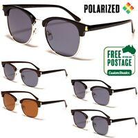 Polarised Sunglasses - Mens / Womens - Retro Round Half Rimmed Frame - Polarized