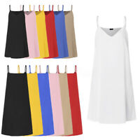 VONDA 8-24 Women Strappy Sleeveless Midi Dress Summer Tank Top Plain Slip Dress