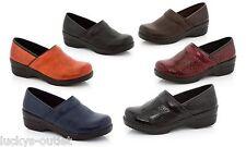 Rasolli Debby Brown Casual Service Uniform Comfy SlipOn Work Clogs Shoes Size 8