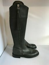 Leather Knee High Boots EU 40 UK 7 Women Black long Flat Zip Up Casual 281737