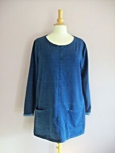 TU Size 18 Blue Stretch Cotton Jersey Long Sleeved Tunic + Patch Pockets